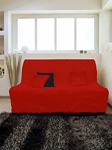Soleil d'Ocre 110457 Housse Bz Matelassée Anti-Tache Alix Rouge Polyester Rouge 200 x 140 cm