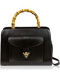 57cbe1ee08 Valentino Orlandi Italian Designer Black Leather Crossobdy Bag w/Bamboo  Handles