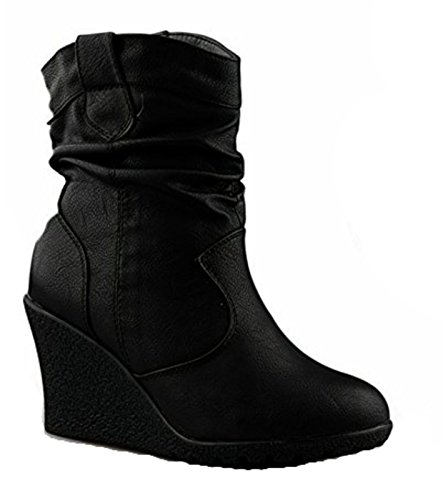 King Of Shoes Damen Stiefeletten Keilabsatz Wedges Boots Plateau Schuhe Q99 (38, Schwarz)
