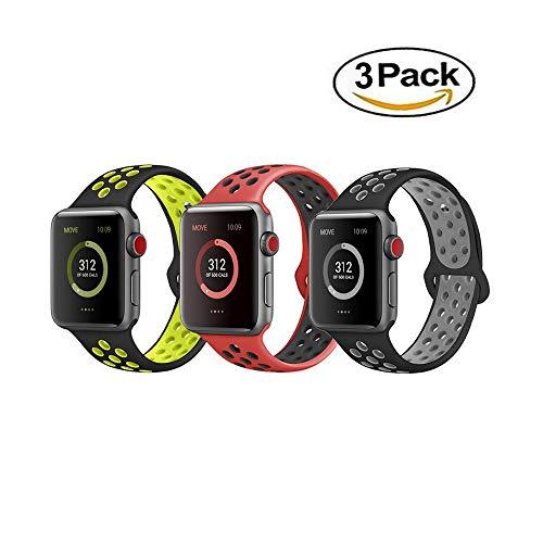 VIKATECH Für Apple Watch Armband, Weiche Silikon Ersatz Armbänder für Apple Watch Armband 42mm / 38mm Series 3/2 / 1, Sport, Edition
