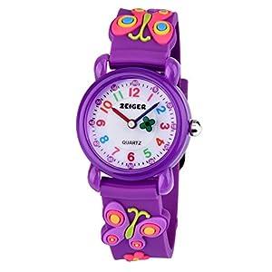 KZKR Mädchen Kinderuhr Armbanduhr Cartoon Lernuhr Lila Rosa Blau