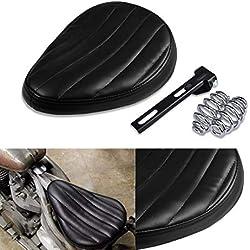 TOOGOO Motocicleta Asiento Individual De Cuero De Cocodrilo 3Pulgadas Soporte para Harley Sportster XL 1200 883 48 Chopper Bobber Kawasaki Asiento De Cuero A Medida Negro Negro
