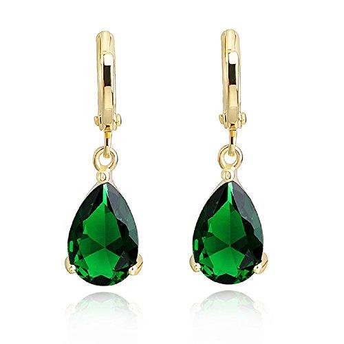 Lágrimas Pendientes con Esmeralda simulada verde Cristales austríacos de Zirconia 18k Chapado en oro Hoop para mujer