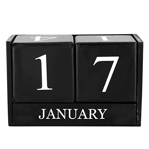 KEYREN Würfel Countdown Kalender Set Vintage Holz Dekoration Heimtextilien Handwerk Schreibtisch Studie Dekoration Tischkalender(schwarz)