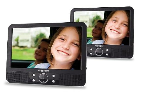 Voyager Tragbarer DVD-Player (22,8 cm (9 Zoll) LCD-Display) mit 2 Bildschirmen inkl. Auto-Holmhalterung und Zubehör schwarz