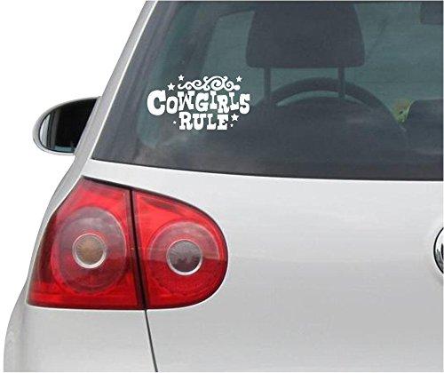 Aufkleber / Autoaufkleber - JDM - Die cut - Cowgirls Rule Decal Auto Laptop Window Vinyl - Folie Sticker - weiß - 149mmx81mm (Sticker Aufkleber Cowgirl)