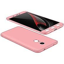 Funda Xiaomi Redmi Note 4 Versión Global / Redmi Note 4X, 360 Grados Integral Carcasa Cuerpo Completo Caso Cubierta, 3 en 1 Híbrido Snap On Anti-Choque Anti-Arañazos Duro Ligero Case (Rosa)