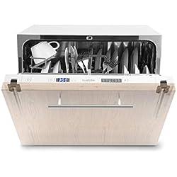 Klarstein Amazonia 6 Secret lavavajillas para montar - Máquina lavaplatos, Solo 174 kWh/Jahr, 6 Programas, Pantalla LED, Aquastop, Perfecto para cocinas pequeñas, Cesto para cubertería, Blanco
