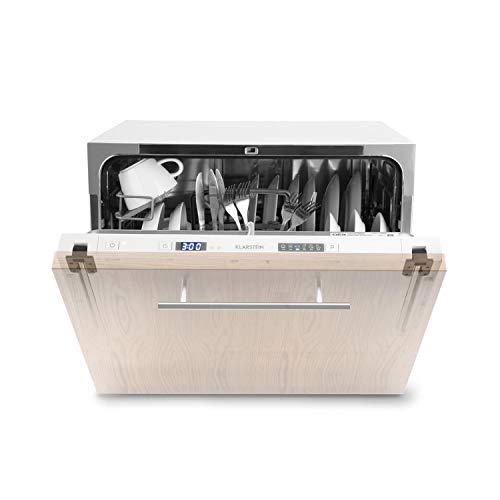 Klarstein Amazonia 8 Secret lavavajillas para montar • Máquina lavaplatos • Solo 174 kWh/Jahr • 6 Programas • Pantalla LED • Aquastop • Perfecto para cocinas pequeñas • Cesto para cubertería • Blanco