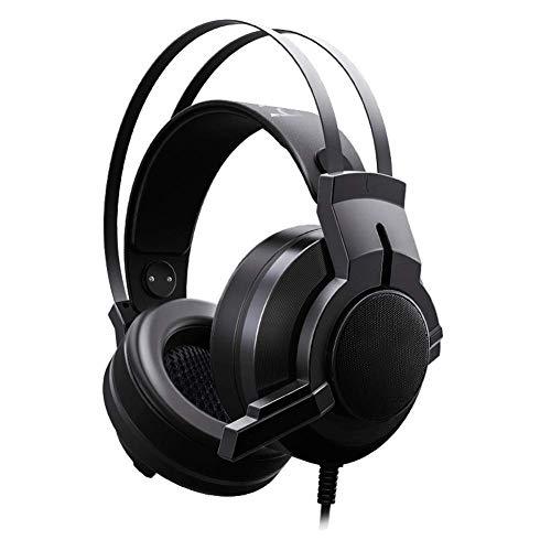 YUNYIN Gaming Headset, RBG Headset Stereo Subwoofer, Kopfhörer mit Noise Cancelling Mikrofon für PC/Laptop-Black Circumaural Gaming-headset