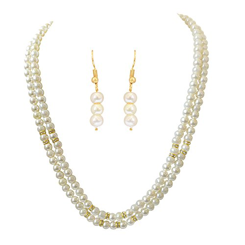 Surat Diamonds 2 Line White Shell Pearl and Stone Ring Necklace Earring Set (PS466)  available at amazon for Rs.165