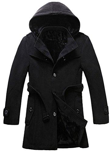 Ghope Manteau de Laine à Double Boutonnage Longue Unie Slim Classique Molleton Duffel Coat Hommes Noir