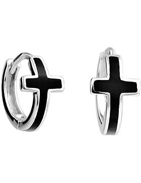 925 Silber Rund Kreis Unisex Kreuz Creolen mit Kreuz für Damen Herren reifen ohrringe klein Kinder