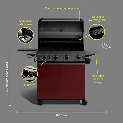 BillyOh Prestige Gourmet 4 Burner Hooded Gas BBQ with Propane Regulator