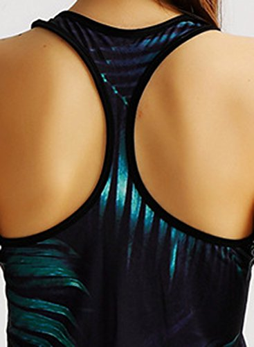 ACHICGIRL Women's Print Zip up Racerback Sports Workout Yoga Tank Top Multicolored