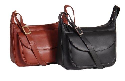 Mesdames épaule Sac en cuir Noir- Brun Grand Zip Cross Body Top Haute Qualité A03