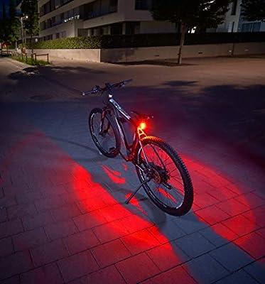 FISCHER Twin Fahrrad-Rücklicht mit innovativer 360° Bodenleuchte für mehr Sichtbarkeit und Schutz