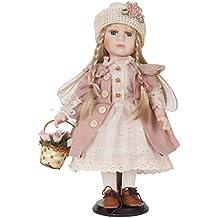 Clayre & Eef 6pp0015decorazione bambola con cestino rosa ca. 33cm