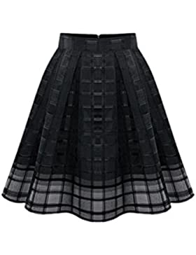 Verano De Mujer Elegante Malla De Simple Plaid Falda Con Pliegues Con Cremalleras