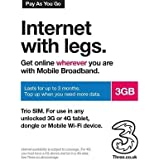 Three (3 Network) PAYG 3G 4G Trio Data SIM Pack Preloaded with 3GB Data - Lasts upto 3 months from first use