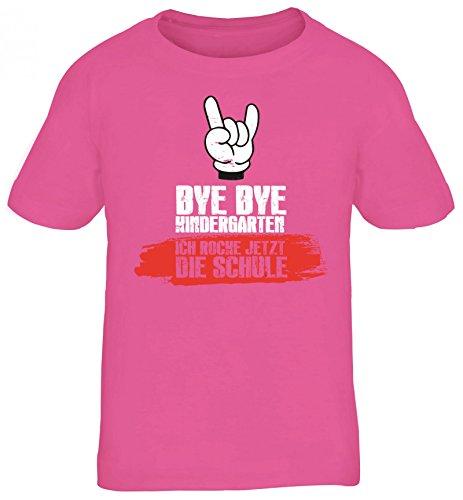Einschulungsgeschenk Erstklässler Schulkind Kinder T-Shirt mit Bye Bye Kindergarten Motiv , Größe: 122/128,pink