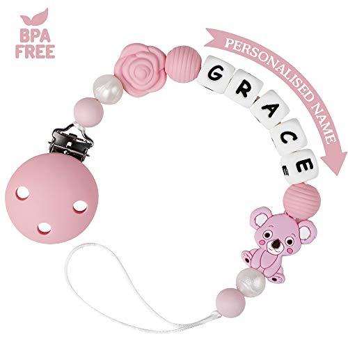 Catenella Portaciuccio con Nome Personalizzata Bambine Ragazzi Catenella Ciuccio Clip Silicone Koala BPA Free (Rosa)