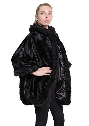 LA CREME donna poncho donna motivo tribale FODERATI IN PELLICCIA Mantello con cappuccio black-ponyskin