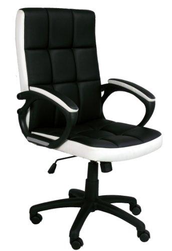Eliza Tinsley - Silla de oficina (imitación piel, respaldo tamaño mediano), color blanco y negro