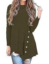 1c46905772c Auifor Botón de Manga Larga Irregular para Mujer Cuello Alto Blusa  asimétrica ...