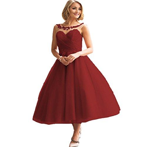 ll Abendkleider Prinzessin Brautkleid Brautjungfer Kleider Ballkleid für Hochzeit(Dunkelrot,42) (Handgefertigtes Cinderella Kleid)