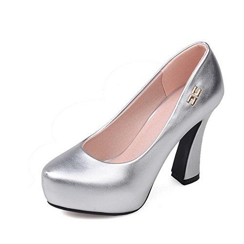 AllhqFashion Femme Tire à Talon Haut Pu Cuir Couleur Unie Rond Chaussures Légeres Argent