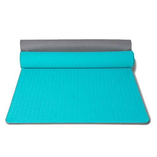XAIOGZ Yogamatte, Trainingsmatte, Auch Für Gymnastik, Pilates Und Fitness, Weiche Und rutschfeste TPE Matte, Hypo-Allergen, Recyclebar Spezifikationen: 183 * 71 * 0,6 (cm),Cyan -