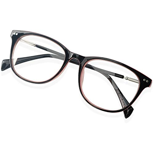 KOOSUFA Retro Brille Ohne Stärke Rund Nerdbrille Pantobrille Brillengestelle Federscharnier Metallbügel Hornbrille Brillenfassung Schutzbrille Damen Herren mit Brillenetui (Schwarz-rosa)