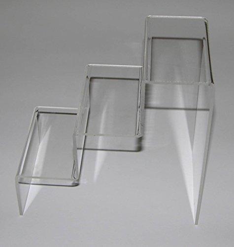 Dmd kit formato da n. 2 espositori a scaletta in plexiglass trasparenti con n. 3 ripiani da cm. 6 dimensioni totali cm. 10 lungh.x18largh.x18h