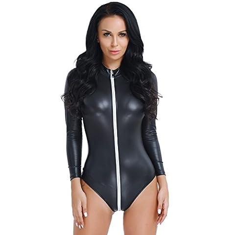 YiZYiF Reizvoller Faux-Leder Clubwear Kostüm Damen Body Wetlook Jumpsuit mit Zip Overall Bikini Reizwäsche Negligees Schwarz XXL