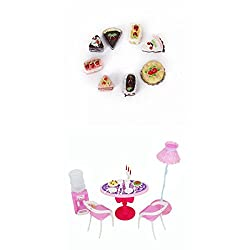 Imported Dollhouse Chairs Table Accessories Play Set+8pcs Assorted Cakes for Barbie Dolls
