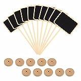 Haodou 10 Stück Mini Tafel Klein Rechteck Kreidetafel mit Ständer Wooden Memo Board 8*6*18cm Schwarz