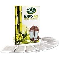 sanaviva® Detox Pflaster Fuß (20 Stk) Vitalpflaster zur Entgiftung - Detox Fußpflaster - Bambus Vital Pads mit Turmalin - Entgiftungspflaster Füße Bambuspflaster - Fusspflaster zum entgiften