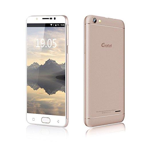 Gretel A9 - 5 Zoll Touch Display Fingerabdrucksensor Smartphone ohne Vertrag, 2GB RAM + 16GB ROM, OTG Funktion, Dual SIM, golden