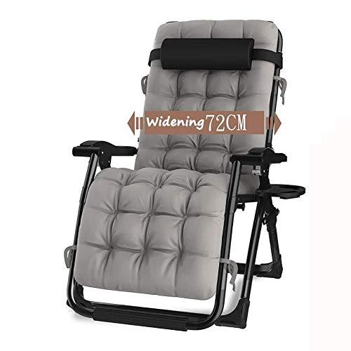 XXINZWU Ultra-breiter Schwerelosigkeits-Recliner-faltender Sonnendeck-Stuhl for Strand-Patio-kampierenden Picknick-Büro-Klubsessel, Unterstützung 200kg (Color : Gray)
