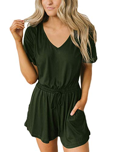 Caracilia Damen Sommer V-Ausschnitt Kurzarm Shorts elastische Taille Taschen Overall Strampler duandaVjunlv-M CYJ06 -