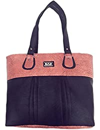 Generic Women's Leather Rexine Designer Hand Bag (Pink & Black, Size 7 Inch)