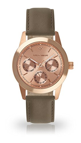 YVES CAMANI MADELAINE Women's Wrist Watch Quartz Analog Rosegold Stainless Steel Case Rosegold Dial (Leather - Grey)