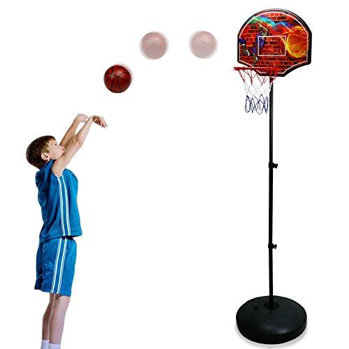 Basketballkorb Einstellbare Höhe Ständer mit Ball und Pumpe für Kinder 3 Jahre,55-146.5cm