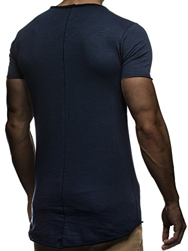LEIF NELSON Herren T-Shirt Top Sweatshirt Sweater Rundhals Kurzarm-shirt Basic Crew Neck Vintage LN6281 Dunkel Blau