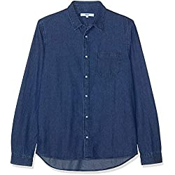 FIND Camisa Vaquera para Hombre, Azul (Dk.wash), Large
