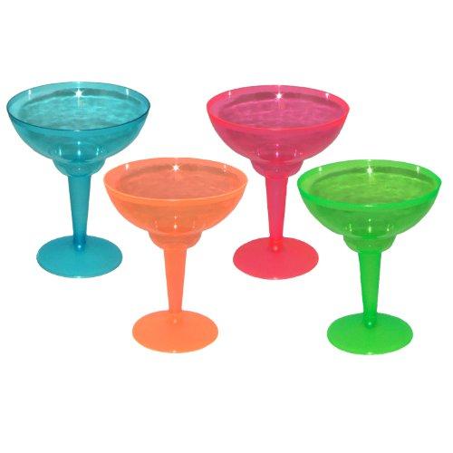 Neonfarbene Margarita-Gläser aus Kunststoff 12er Pack