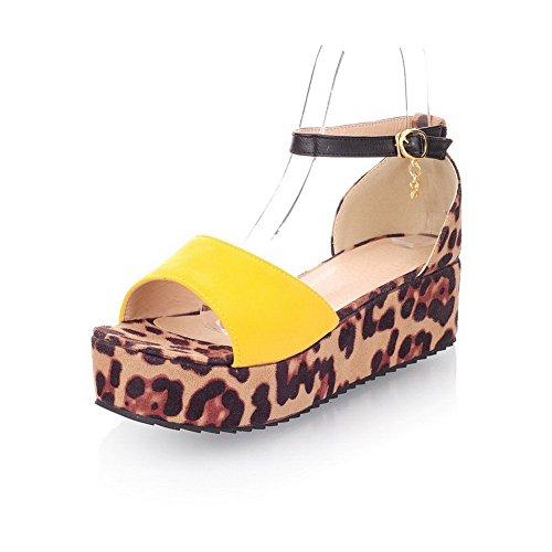 VogueZone009 Damen Schnalle Mittler Absatz Nubukleder Gemischte Farbe Offener Zehe Sandalen Gelb