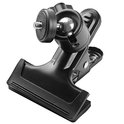 Phot-R P-VCB Photo Studio Multi-Funktions-Doppelfeder Stativ Flash-Reflektor Halterung Clip Clamp mit 1/4 Zoll Schraube Kugelkopf für DSLR-Kamera schwarz