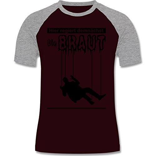 JGA Junggesellenabschied - Hier regiert demnächst die Braut - zweifarbiges Baseballshirt für Männer Burgundrot/Grau meliert